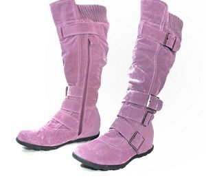 Generation Y Womens Suede Ruched Knee High Boots